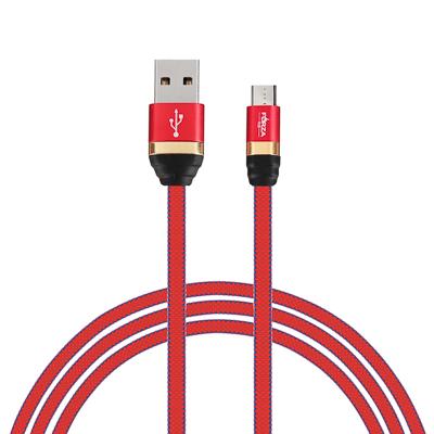 Кабель для зарядки Элегант Micro USB, 1м, 2А, тканевая оплётка, 4 цвета