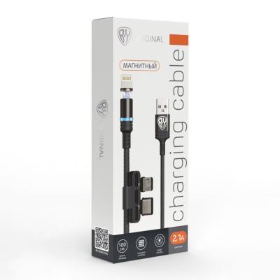 470-051 FORZA Кабель для моб. телефона с магнитом, 2в1: iP, MicroUSB, 2.1А, прорезиненный, пластик