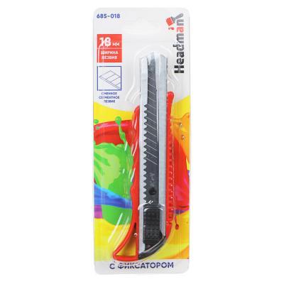 685-018 ЕРМАК Нож сегментный с фиксатором, толщина лезвия 0,4мм, ширина 18мм, пластик, металл