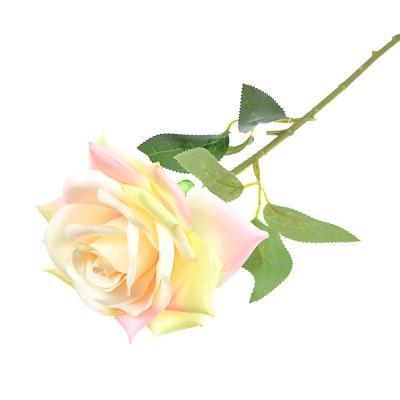 409-011 Цветок искусственный в виде розы, пластик, полиэстер, 55 см, 6 цветов