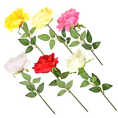 409-012 Цветок искусственный в виде розы, пластик, полиэстер, 57 см, 6 цветов