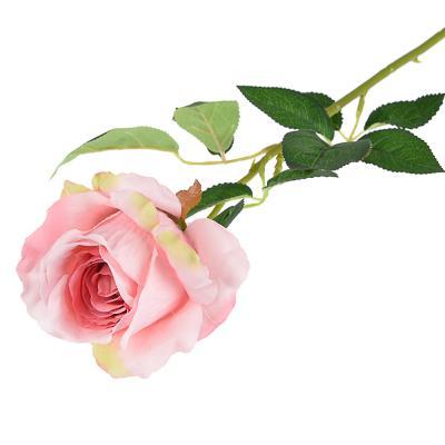 409-013 Цветок искусственный в виде ветки с розами, пластик, полиэстер, 64 см, 6 цветов