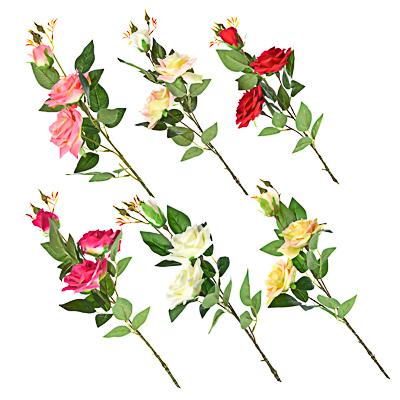 409-014 Цветок искусственный в виде ветки с розами, пластик, полиэстер, 94 см, 6 цветов