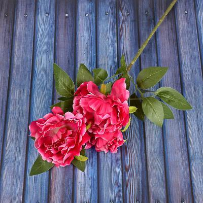 409-015 Цветок искусственный в виде пионов, пластик, полиэстер, 66 см, 6 цветов