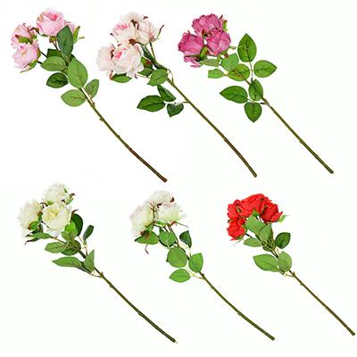 409-017 Цветок искусственный в виде веток роз, пластик, полиэстер, 39 см, 6 цветов