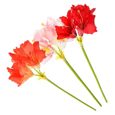 409-018 Цветок искусственный в виде гиппеаструма, пластик, полиэстер, 60 см, 3 цвета