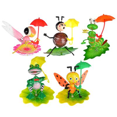 """153-096 INBLOOM Фигурки садовые на металл.стержне 60 см """"Насекомые с зонтами"""", пластик, 5 видов"""