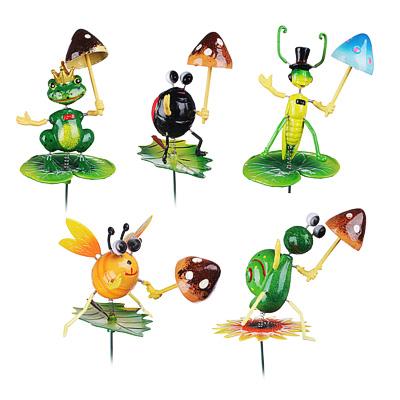 """153-097 INBLOOM Фигурки садовые на металл.стержне 60 см """"Насекомые с грибами"""", пластик, 5 видов"""