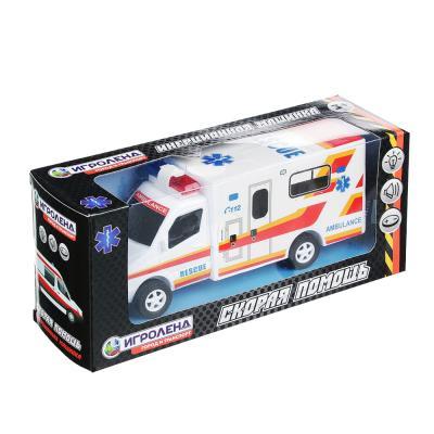 292-146 ИГРОЛЕНД Машина скорая помощь со световыми и звуковыми эффектами, пластик, 21,5х9,5х6,5см, HT004A