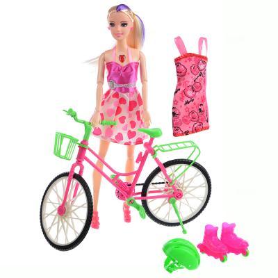 267-781 ИГРОЛЕНД Кукла с велосипедом и аксессуарами, 30см, пластик, 26х33х7см