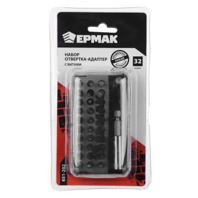 651-202 ЕРМАК Набор отвертка-адаптер с битами, АБС пластик, сталь