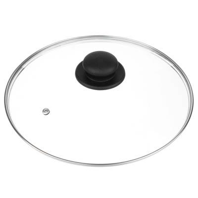 848-064 Крышка для сковороды d. 28 см, стеклянная, с  металическим ободком в сборе
