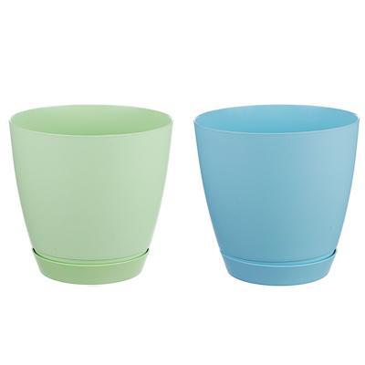 164-174 Горшок для цветов с поддоном, полипропилен, 1,4 л, белый, салатовый, розовый, голубой, Камея