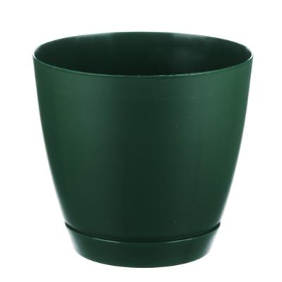 164-175 Горшок для цветов с поддоном, полипропилен, 1,4 л, бежевый, мрамор, зеленый, мята, Камея