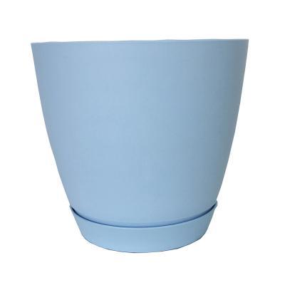 164-176 Горшок для цветов с поддоном, полипропилен, 2,2 л, белый, салатовый, розовый, голубой, Камея
