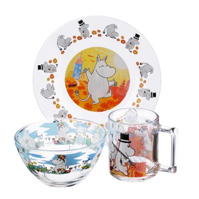 "829-191 Набор детский: тарелка 19,6см, салатник 12,7см, кружка 250мл, стекло, ОСЗ ""Муми-тролли"""