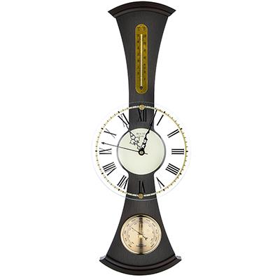581-760 Барометр-часы настенные, электронно-механические кварцевые, дерево, АА/1,5 В, 59х22 см, СЧК-198