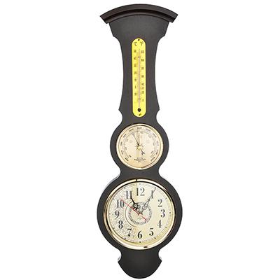 581-761 Барометр-часы настенные, электронно-механические кварцевые, дерево, АА/1,5 В, 50х17 см, СЧК-199