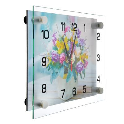 "581-765 Часы настенные стеклянные, 20х26 см, ""Букет"""