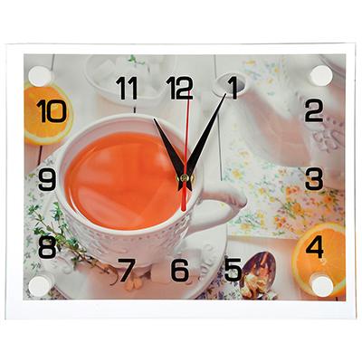"""581-766 Часы настенные стеклянные, 20х26 см, """"Чай с лимоном"""""""