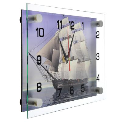 "581-767 Часы настенные стеклянные 20х26 см, ""Корабль"""