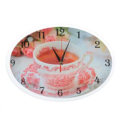 "581-768 Часы настенные стеклянные, 34х24 см, ""Вкусный чаек"""