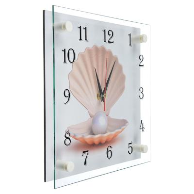 """581-769 Часы настенные стеклянные, 25х25 см, """"Ракушка с жемчужиной"""""""