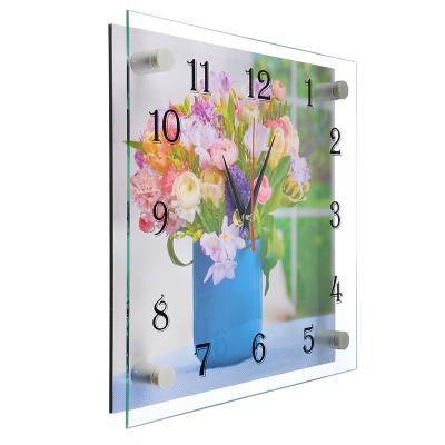 "581-770 Часы настенные стеклянные, 25х25 см, ""Букет лесных цветов"""