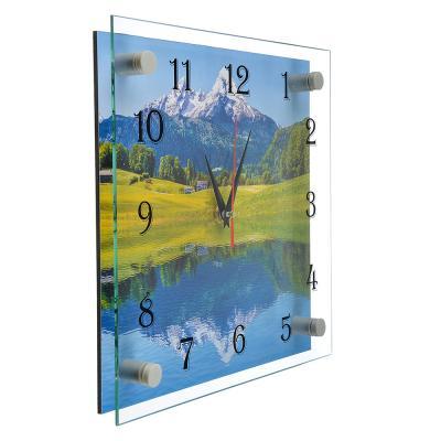 """581-771 Часы настенные стеклянные, 25х25 см, """"Озеро в горах"""""""