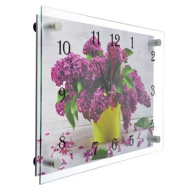 """581-772 Часы настенные стеклянные, 25х35 см, """"Сиреневая нежность"""""""