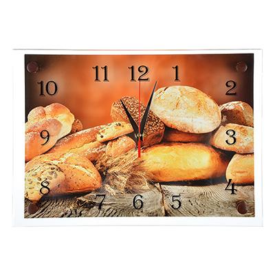 """581-773 Часы настенные стеклянные, 25х35 см, """"Хлебное изобилие"""""""
