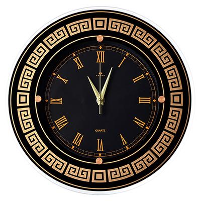 """581-774 Часы настенные круглые, стекло, d31см, черный, """"Классика с римскими цифрами"""""""