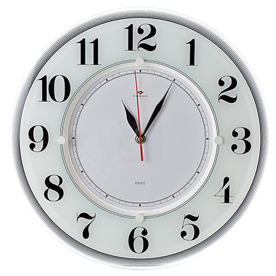 """581-776 Часы настенные круглые, стекло, d34см, белый, """"Классика"""""""