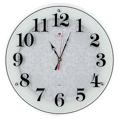 """581-777 Часы настенные круглые, стекло, d39см, белый, """"Классика с узором"""""""