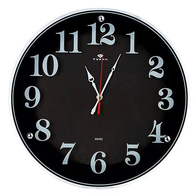 """581-778 Часы настенные круглые, стекло, d39см,черный """"Классика с узором"""""""