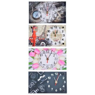 529-171 Часы настольные прямоугольной формы, стекло, 13х23см,  3 дизайна ГЦ арт 2