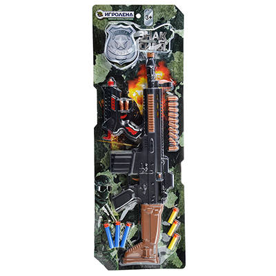 261-677 ИГРОЛЕНД Набор оружия с резиновыми и поролоновыми пулями, пластик, 49х15х4см