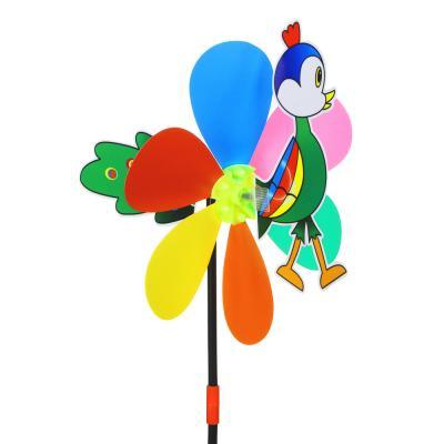 900-005 Ветрячок детский, 2 вертушки-цветочка, 47см, пластик, 18х27см, 2-4 дизайна