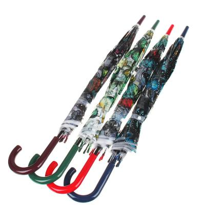 302-302 Зонт-трость женский, сплав, пластик, ПВХ, длина 60см, 8 спиц, 4 дизайна,903A
