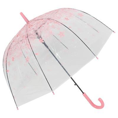 302-304 Зонт-трость женский, сплав, пластик, ПВХ, длина 60см, 8 спиц, 4 цвета,112A