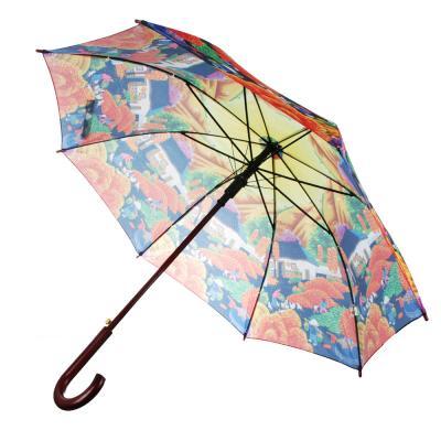 302-305 Зонт-трость женский, сплав, пластик, полиэстер, длина 60см, 8 спиц, 6 дизайнов,1268Z