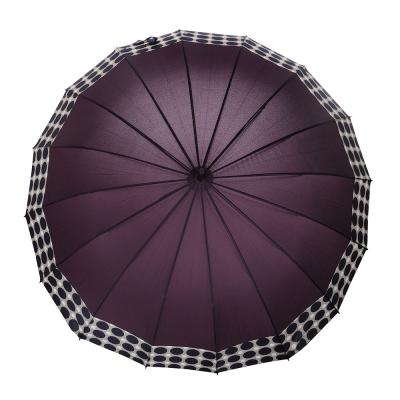 302-307 Зонт-трость женский, сплав, пластик, полиэстер, длина 65см, 16 спиц, 4-6 цветов,1377