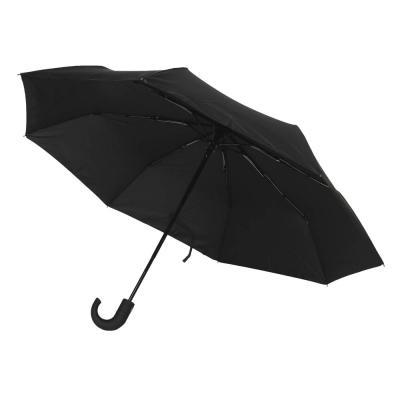 302-317 Зонт мужской, автомат, сплав, пластик, полиэстер, 55см, 8 спиц, черный
