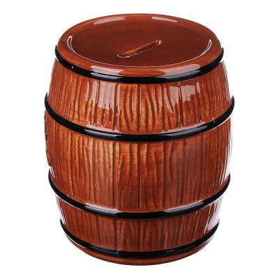 511-188 Копилка в виде пивной бочки, керамическая, 12,8х12,8х14,5см, 2 цвета