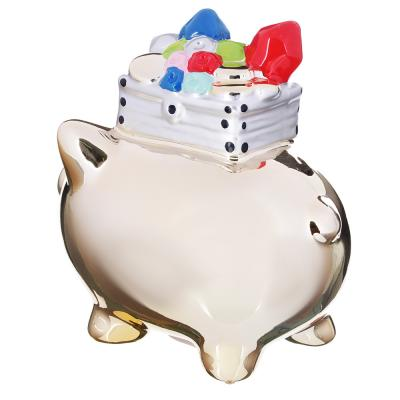 511-191 Копилка в виде свинки с сокровищами, керамическая, 17х12,5х16,8см