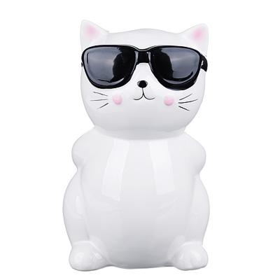 511-195 Копилка в виде кошки в очках, керамическая, 13х12х19,5см