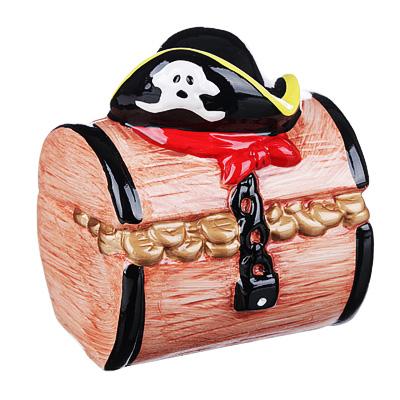 511-200 Копилка в виде пиратского сундука, керамическая, 10,8х10х12,5см