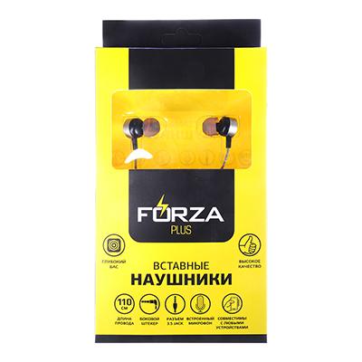 916-168 FORZA Наушники вставные с микрофоном, алюминий, пластик, боковой штекер, 110см, цвет металлик