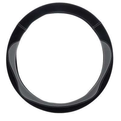 """708-108 NEW GALAXY Оплетка руля, экокожа, со вставками """"темно-серый"""", черный, размер М"""