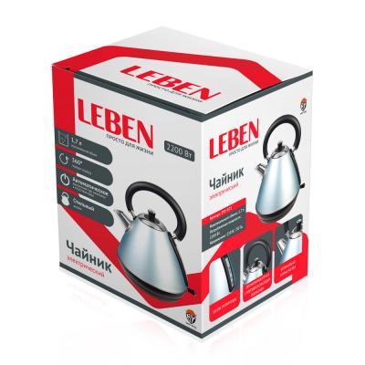 291-073 LEBEN Чайник электрический 1,7л, 2200Вт, нерж. сталь, конус, голубой
